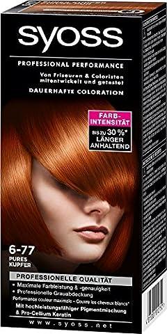 Syoss Haarfarbe Pures Kupfer 6-77/ professionelle Grauabdeckung/ Dauerhafte Coloration/ für
