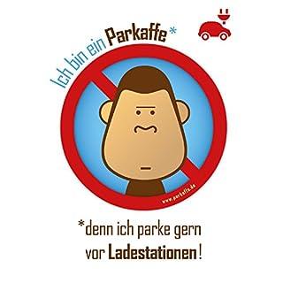 100 Sticker gegen Falschparker – Parkaffe blockiert Ladestation für Elektroauto, DIN A6 Aufkleber mit perforierter Rückseite, sekundenschnell aufgeklebt