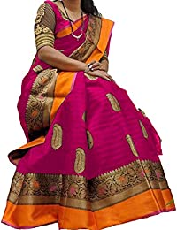 Molisa Saree Women's Casual Wear Cotton Saree With Blouse Piece (Cotton Silk Saree, Free Size, Multi Colour)