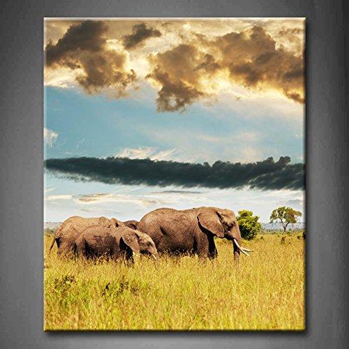 Elefantes en la sabana pradera árboles nube pared arte pintura la imagen...