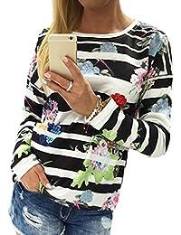 FEITONG Algodón Las mujeres floral rayado Imprimir La camiseta de manga larga blusa suelta