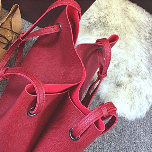 Grande Monospalla Borsa, Moda Donna In Pelle Litchi Stria Borsetta Borsa Monospalla + Pochette by Kangrunmy Rosso