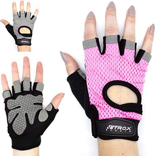 Netrox Fitness Handschuhe mit Handgelenkbandage Handgelenkstütze extra Grip und rutschfest für Herren und Damen in schwarz - Crossfit Krafttraining Kraftsport Bodybuilding Sport Gym Gloves (rosa, M)