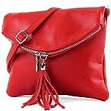 modamoda de - ital Umhängetasche Klein aus Nappaleder T139, Präzise Farbe:T139 Rot