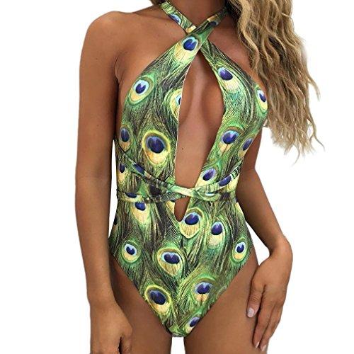 Damen Bedruckter Badeanzug, SHOBDW Neueste Frauen-einteiliger Bikini Pfau Druck Badebekleidungs Verband drücken aufgefüllten Badeanzug hoch (M, Grün)