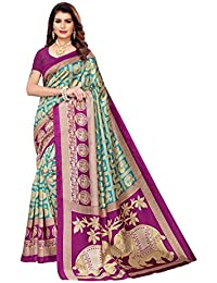 Anni Designer Women's Mysore Silk Printed Saree with Blouse Piece(Circus Elephant_Free Size)