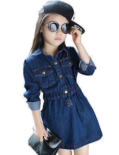 Vestito / Jeans Girl Casual Tinta unita Cotone Primavera / Autunno Blu , (Merletto Della Stampa Jeans)