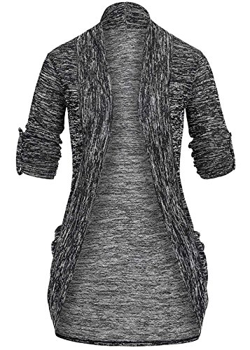 Mr.Shine Damen Turn-Up Cardigan 2 Taschen Gr. S-XXL (S, Schwarz)