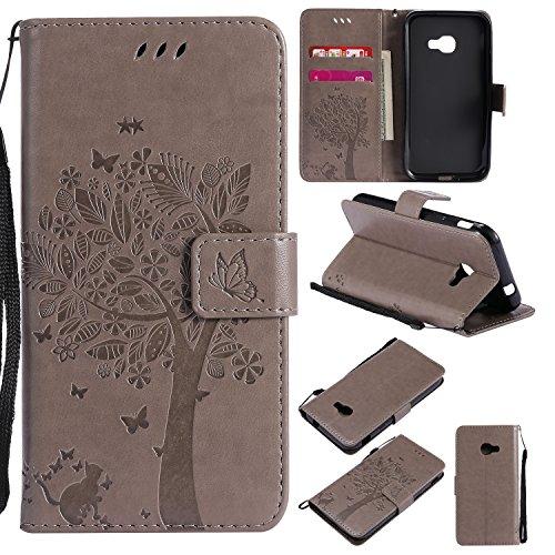 Skytar Xcover 4 Case,Galaxy Xcover 4 Handyhülle - [Glücklicher Baum Serie] PU Leder Cover Case Stand Schutzhülle Flip Etui Tasche für Samsung Galaxy Xcover 4 SM-G390F Hülle Schutzhülle,Grau