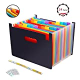 24 Pocket Expanding File Folder, A4 Expandable Wallet-Portable Accordion File Folder with Colored Tape- Works on A4 &Letter Size for Office, School, Home