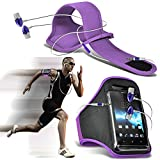 Fone-Case ( Purple + Earphone ) Lenovo Sisley Case Brand New Sports Armbands Running Bike Cycling Gym Jogging Ridding Arm Band Case Cover With Premium Quality in Ear Buds Stereo Hands Free Headphones Headset with Built in Microphone Mic and On-Off Button