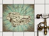 creatisto Fliesenfolie Klebefolie | Fliesen Aufkleber Folie Sticker selbstklebend Küche renovieren Bad Küchendekoration | 15x20 cm Design Motiv Retro Cars 1-6 Stück