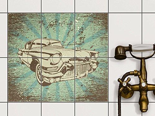 Creatisto Fliesenfolie Klebefolie | Fliesen Aufkleber Folie Sticker  Selbstklebend Küche Renovieren Bad Küchendekoration | 15x20 Cm Design Motiv  Retro Cars ...