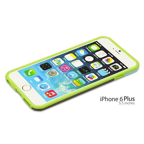 OBiDi - Stylish Mix Color outlet HardBack Case / Housse pour Apple iPhone 6 Plus / 6S Plus (5.5)Smartphone - Jaune avec 3 Film de Protection Vert