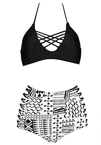 Lannorn Damen 2 Stück Retro Elegant Bikini-Sets Bademode Push up Neckholder Schwarz Weiß Taille Plus Size Bathing Suit Zweiteilig Strandmode. (Stück 2 Badeanzug Skirtini)