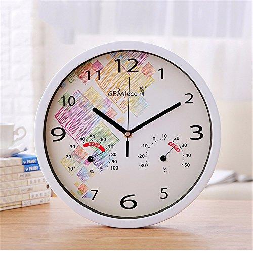 ZloveM Wanduhr mit Sekundenzeiger Küchenuhr Wohnzimmer Uhr Büro Wanduhr Flur Temperatur und Luftfeuchtigkeit Runde 30 CMI