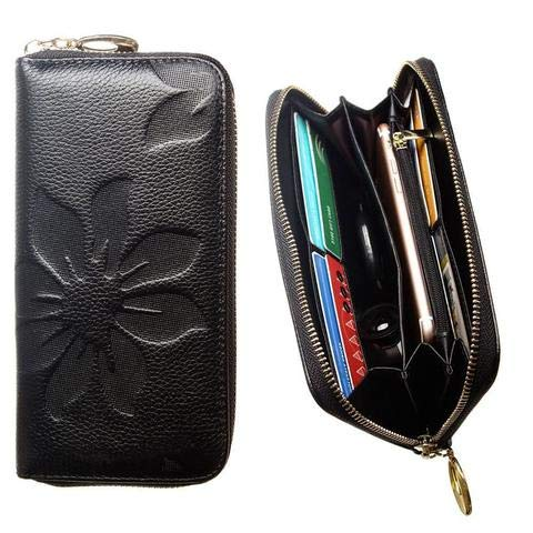CellularOutfitter Leather Clutch/Wallet Case - Embossed Flower Design w/Multiple Card Slots and Compartments - Black -