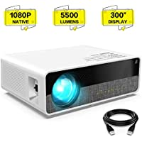 "ELEPHAS Projector Q9 Native 1080P HD Video Projector, 5500 Lumens up to 300"" Image Display Ideal for PPT Business Presentations Home Theater Entertainment Parties Games"