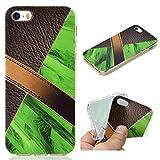 All Do Coque iPhone 5/5S/SE, Modèle de Cuir Marbre Luxe Étui Silicone Souple TPU Housse Ultra Mince, Coque Antichoc Anti-Rayures pour iPhone 5/5S/SE - Vert