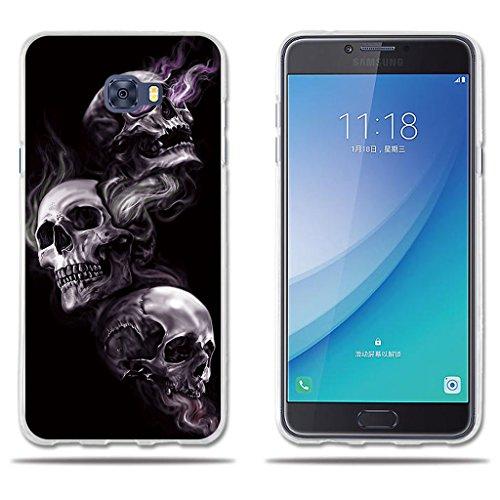 """fubaoda Funda Samsung Galaxy C7 Pro Dibujo Artistico con 3 Cráneos,Amortigua los Golpes, Funda Protectora Anti-Golpes para Samsung Galaxy C7 Pro (2017) (5.7"""")"""