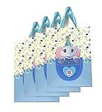 Lagiwa® Lot de 4 Sac papier cartonné emballage cadeaux thème Animaux 3D avec paillettes Petit modèle 24 cm x 18 cm x 8 cm modèle au choix (4 x Elephant)