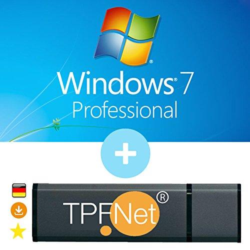 MS Windows 7 Pro 32 bit & 64 bit - Original Lizenzschlüssel mit bootfähigen USB Stick von - TPFNet® (7 Cd Window)