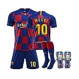 QQT Fußball Trikots Barcelona 10th Messi Heimtrikot Kinder und Erwachsenenkleidung Anzug (Hemden + Shorts + Socken + Gamaschen)