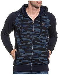BLZ jeans - Gilet sweat homme bleu navy camouflage