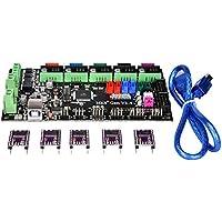 PoPprint - Panel de control integrado MKS-Gen V1.4, con Ramps 1.4, placa base Mega 2560, unidad de motor DRV8825 y línea de cable para impresora 3D