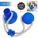 LIUMY Pelota de Juguete al Aire Libre para Perros, Juguete Multifuncional para mordedura de Molar para Mascotas,con Ventosa para Masticar, Limpiar los Dientes, Adecuado para Perros y Gatos(Azul