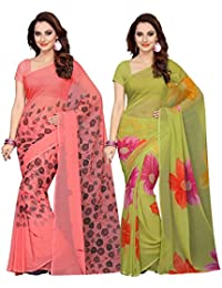 Ishin Combo Of 2 Faux Georgette Peach & Green Printed Women's Saree/Sari