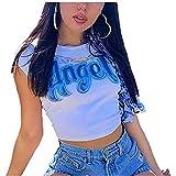 Carolilly Crop Top Donna Manica Corta Angelo Top Donna Corto Estivo T-Shirt con Stampa di Lettere Maglietta Ragazza Sottile S