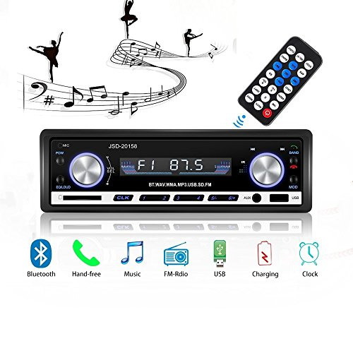 Autoradio Stereo Video FM Radio, MP3-Player 4x60W Autoradio, Auto Stereo Bluetooth mit Fernbedienung + Adapter DIN ISO mit 2 kleinen Kabeln + 1 großes Kabel