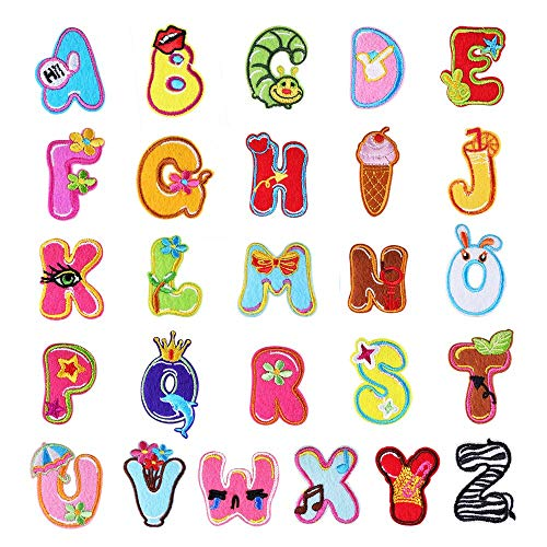 Aufnäher zum Aufbügeln Buchstaben A-Z Alphabet Patches Tierform DIY Motiv Aufbügeln oder Aufnähen Aufnäher Applikation für Jeans, Jacken, Rucksäcke 4cm Style 9