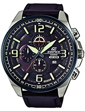 Casio Edifice Herrenuhr Analog Quarz mit Echtlederarmband – EFR-555BL-5AVUEF