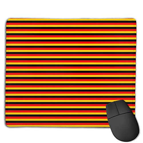 Eighth Inch Germany Flag Black Red Gold Horizontal Stripes Mouse Mat Desk Pad with Non-Slip Rubber Base 18x22cm -