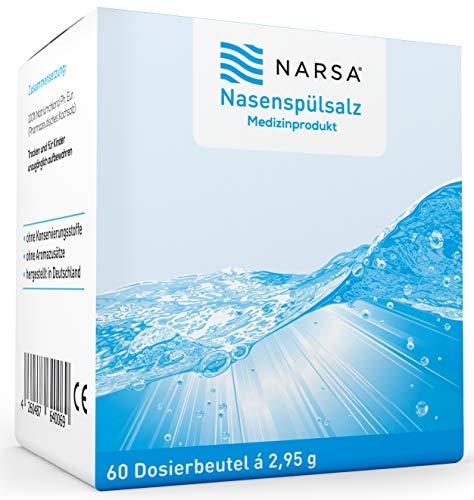 NARSA® Sale Lavaggio Nasale Per Pulizia & Irrigazione del Naso Ideale In caso di Raffreddore Allergie Naso Secco Sinusite Pollini e Altre Particelle Responsabili di Infezioni Kit 60pz.
