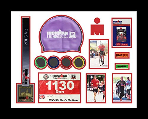 Kwik Picture Framing Ltd Ironman Bolton 2018 Triathlon Marathon, Running Medal Swimming caps Display Frame White Mount - Black Frame