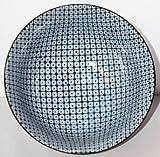 Japan Schale - Matcha Schale, H 8 cm/D 15 cm blau/weiß Karo/Punkt