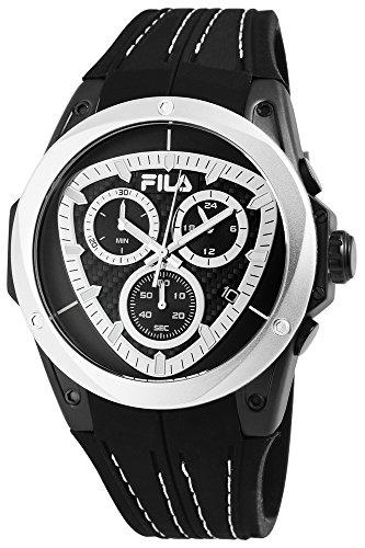 Fila Reloj de hombre con pulsera de silicona blanco y negro Cronógrafo Deportivo Modern 10ATM resistente al agua fecha cronómetro