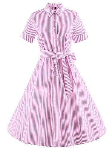 Tanz Jahre Kostüme 40er (Vintage Rockabilly gestreiften Kleid Hepburn Stil Partykleid Cocktailkleid 64er Jahr)