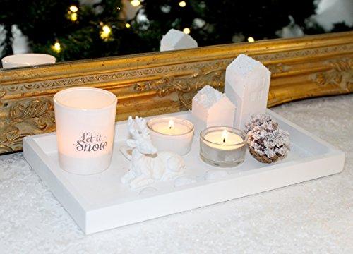 Kerzenhalter Kerzenständer WINTER Weiss Weihnachtsdeko Teelichthalter Dekofigur Holz Modern Design