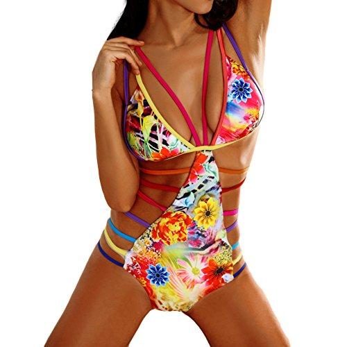 GGTFA Damen Floral Print Regenbogen Verband Aushöhlen Bikini Sommer Strand Bademode Badeanzug Monokini Gelb
