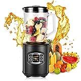 Homdox Standmixer Smoothie 1,5 Liter Glasbehälter, 2 Geschwindigkeitsstufen, 4 Dual Edelstahlmesser, Blender Machine Multimixer 500 Watt