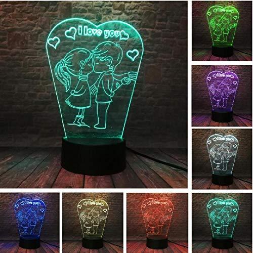 Nachtlicht 7 Farbwechsel 3D Romantischer Kuss Kinder Ich liebe dich Tischlampe Hochzeitsdekor Liebhaber Geschenke (Liebe Ich Ein Kuss Bedeutet: Dich)