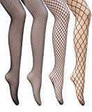 Dreshow 4 confezioni a rete calza sexy Cross collant senza cuciture in nylon grande mesh Hollow Out collant 4 Pair Pantyhoses: 4 style fishnet