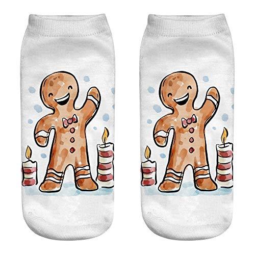 Unisex Weihnachten Socken, Quaan Komisch 3D Mode Gedruckt Beiläufig Socken Niedlich Niedrig Schnitt Knöchel elastisch Seide Strumpfhose Weich Gemütlich Licht atmungsaktiv warm Geschäft ()