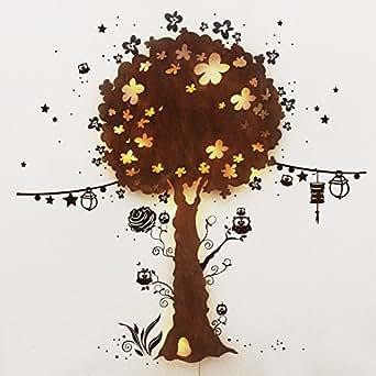 Sticker mural motif arbre applique baumlampe eulenlampe ho08 veilleuses luminaire lED
