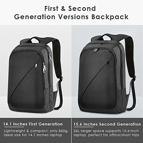 Imagen de reyleo  de portátil de segunda generación hasta 15,6 pulgadas backpack impermeable para ordenador del negocio trabajo diario viaje  26l negro alternativa
