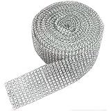 6m length of 50mm (10 row) faux diamond diamante ribbon trim